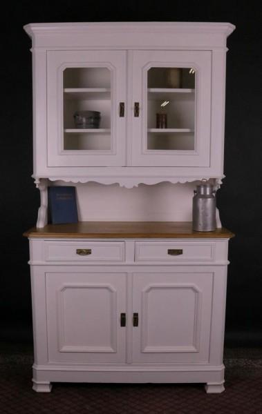 Antiker Küchenschrank weiß / natur Platte Weichholz