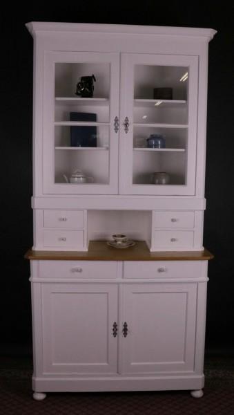 Hoher Küchenschrank weiss lackiert Biedermeier um 1870