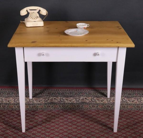 Tisch Weichholz antik weiss / natur antik