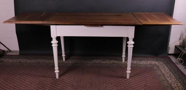 Antiker Tisch ausziehbar Kirsch-, Birnbaum, Gestell weiß