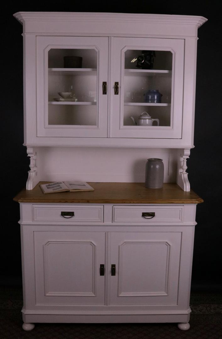 antiker kuechenschrank kuechenbuffet weiss lackiert um 1860 kohler. Black Bedroom Furniture Sets. Home Design Ideas