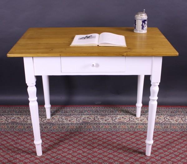 Alter restaurierter Tisch Weichholz weiß/natur