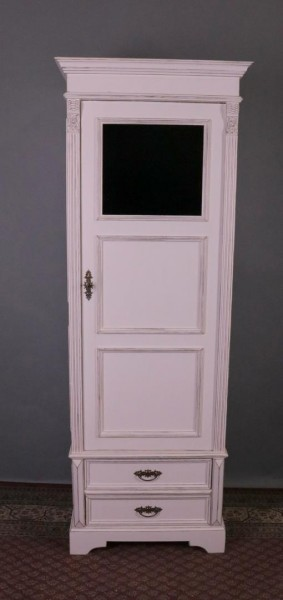 Antiker Besenschrank mit Fenster und Schubladen weiß