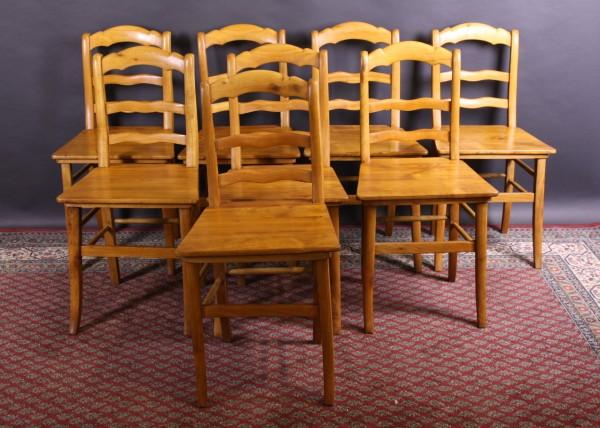 Set (8 Stück) restaurierte Kirschbaum Stühle Biedermeier