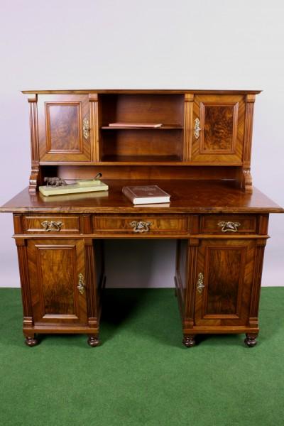 Nußbaum Aufsatz-Schreibtisch aus der Jugendstilzeit