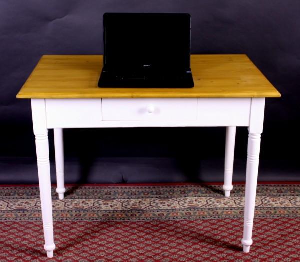 Antiker Tisch restauriert weiß / natur