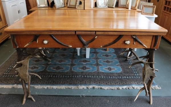 Antiker Geweih Auszugstisch aus Eiche um 1890 gefertigt