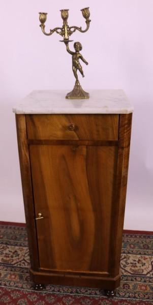 Nachttisch Biedermeier Nussbaum mit Marmortplatte