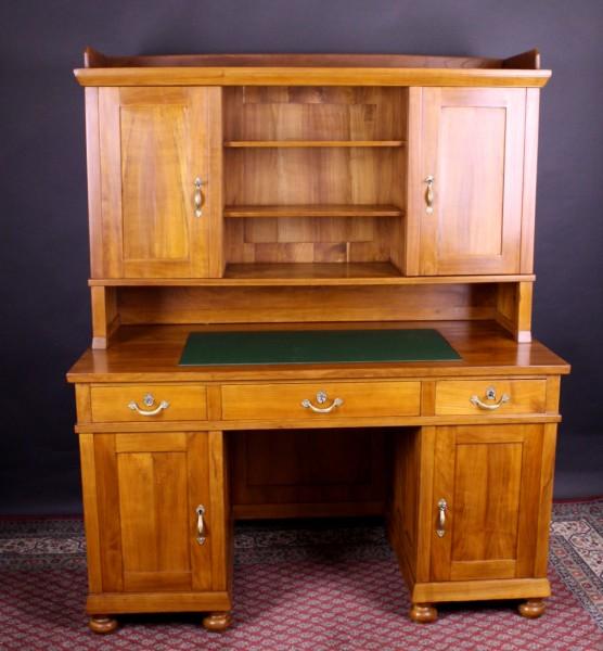 Kirschholz Schreibtisch Jugendstil mit Aufsatz