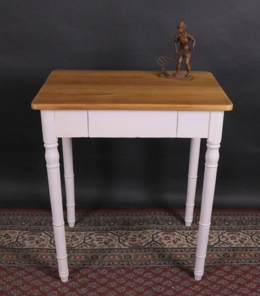 Antiker kleiner Tisch weiß lackiert mit Naturplatte