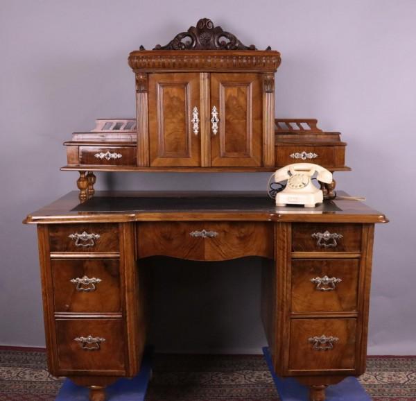 Antiker Schreibtisch Nußbaum Gründerzeit um 1880 Schellackpolitur