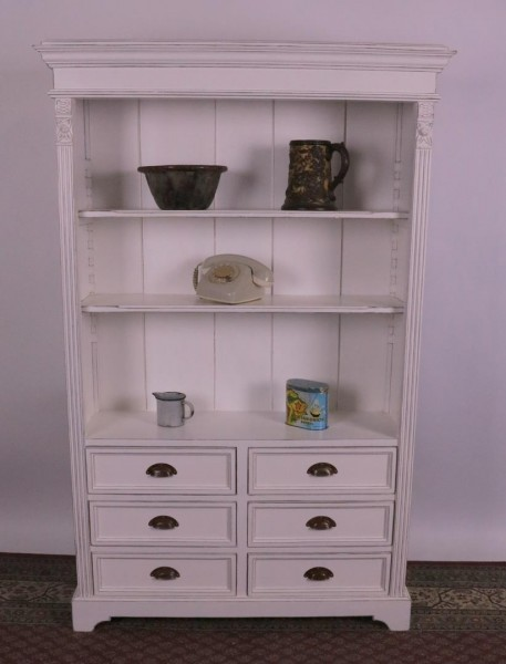 Bücherregal mit Schubladen weiß shaby-look, vintage-Stil