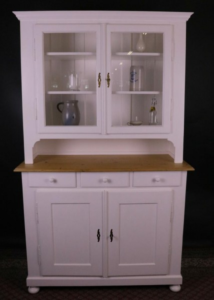 Antiker Biedermeier Küchenschrank weiß lackiert 1860